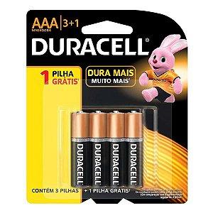 Pilha Duracell Alcalina Palito AAA 1.5v - 4pçs (Pague 3 leve 4)