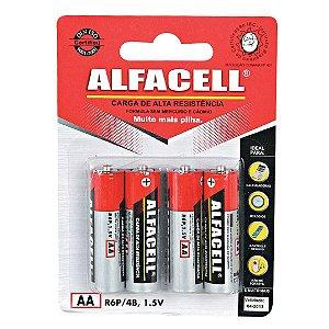 Pilha Comum Alfacell AA 1.5v R06 Pequena - 4pçs