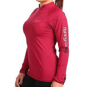 Camiseta Fishing Co. Zíper ML Feminina Cereja