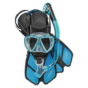 Kit de Mergulho Cressi com Nadadeira Bonete Pro cor Azul