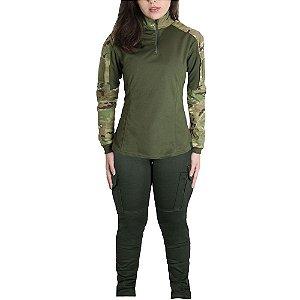Farda Tática Feminina Militar Bélica - Verde e Multicam