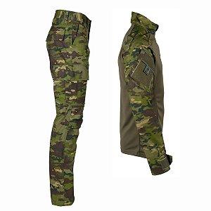 Farda Tática Bélica - Calça e Combat Shirt Camuflada Tropic