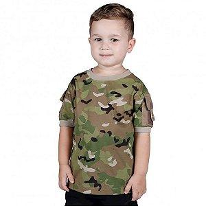 Camiseta Infantil Ranger Kids Camuflada Multicam Bélica