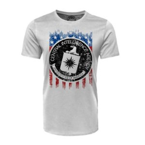 Camiseta CIA USA Branca - Black Flag