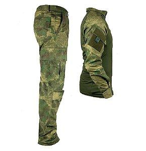 Farda Tática Bélica - Calça e Combat Shirt Camuflada Atacs FG
