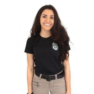 Camiseta Feminina Militar Baby Look Estampada Estado Civil Casada Preta - Atack