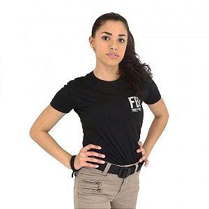 Camiseta Feminina Militar Baby Look Estampada Fbi Preta - Atack