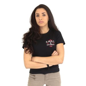 Camiseta Feminina Militar Baby Look Estampada Swat Preta - Atack