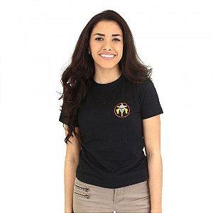 Camiseta Feminina Militar Baby Look Estampada Tropa De Elite Preta - Atack