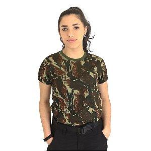 Camiseta Feminina Militar Baby Look Camuflada Exército Brasileiro - Atack