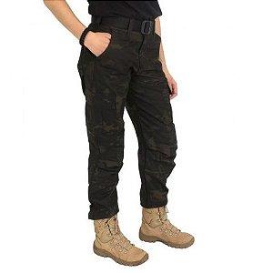Calça Feminina Tática Camuflada Woodland Black Estonado - Atack
