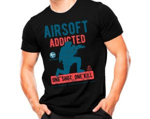 Camiseta Militar Estampada Airsoft One Shot Preta - Atack