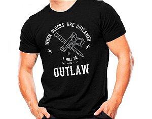 Camiseta Militar Estampada Glock Outlaw Preta E Cinza - Atack