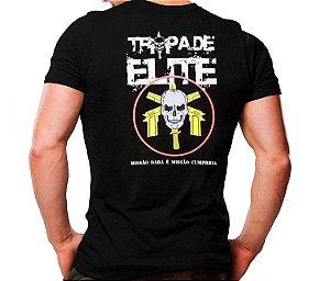 Camiseta Militar Estampada Tropa De Elite Preta - Atack