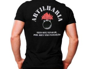 Camiseta Militar Estampada Artilharia Preta - Atack