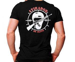 Camiseta Militar Estampada Atirador De Elite Preta - Atack
