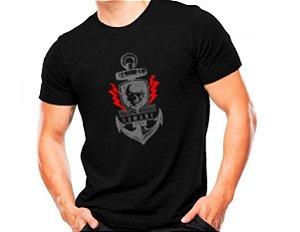 Camiseta Militar Estampada Comandos Anfíbios Preta - Atack
