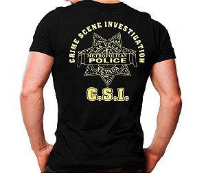 Camiseta Militar Estampada C.S.I Preta - Atack