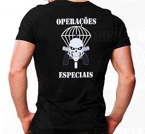 Camiseta Militar Estampada Operações Especiais Pqd Preta - Atack