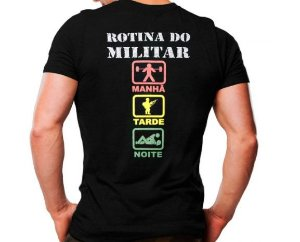 Camiseta Militar Estampada Rotina Do Militar Noite Preta - Atack
