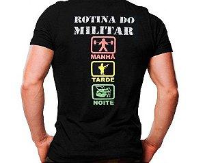 Camiseta Militar Estampada Rotina Do Militar Festa Preta - Atack
