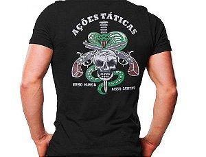 Camiseta Militar Estampada Ações Táticas Preta - Atack