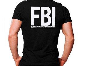 Camiseta Militar Estampada FBI Preta - Atack