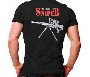 Camiseta Militar Estampada Sniper Preta - Atack