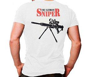 Camiseta Militar Estampada Sniper Branca - Atack