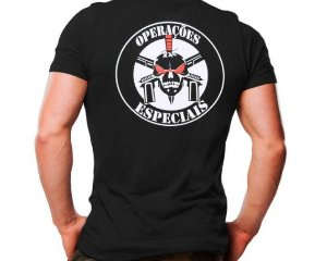 Camiseta Militar Estampada Operações Especiais Caveira Preta - Atack