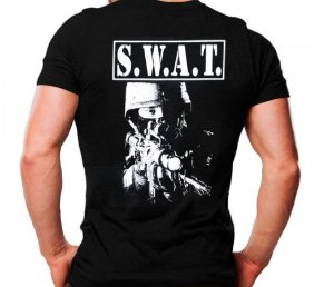Camiseta Militar Estampada S.W.A.T. Atirador Preta - Atack
