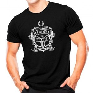 Camiseta Militar Estampada Marinha Do Brasil Preta Estampa Branca - Atack