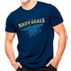 Camiseta Militar Estampada Navy Seals Azul - Atack