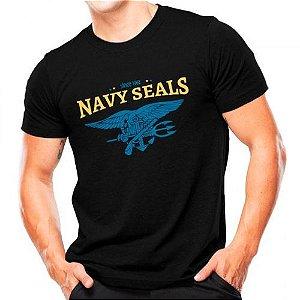 Camiseta Militar Estampada Navy Seals Preta - Atack