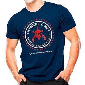 Camiseta Militar Estampada Bope Forgives Azul - Atack