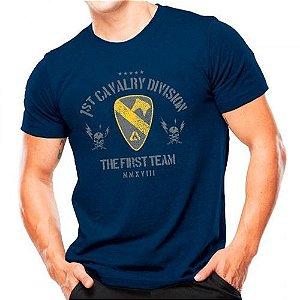 Camiseta Militar Estampada Cavalaria Dos Eua Azul - Atack