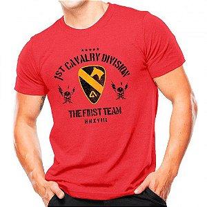Camiseta Militar Estampada Cavalaria Dos Eua Vermelha - Atack