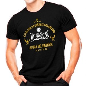 Camiseta Militar Estampada Cavalaria Do Exército Brasileiro Preta - Atack