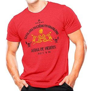 Camiseta Militar Estampada Cavalaria Do Exército Brasileiro Vermelha - Atack