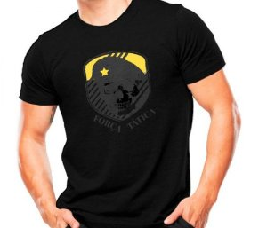 Camiseta Militar Estampada Força Tática Preta - Atack