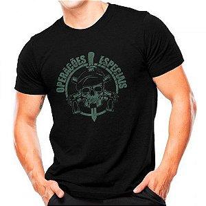 Camiseta Militar Estampada Operações Especiais Preta - Atack