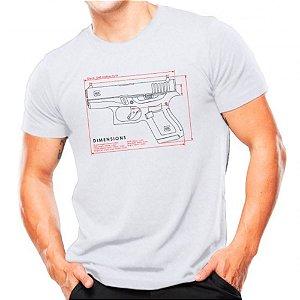 Camiseta Militar Estampada Glock G43 Branca - Atack