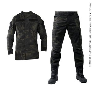 Farda Tática Bélica - Calça Combat e Gandola Camuflada Multicam Black