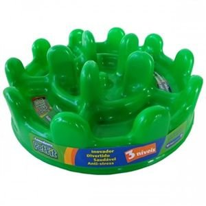 PET GAMES COMEDOURO LENTO PET FIT MINI 20cm VERDE  para cães e gatos até 10kg.