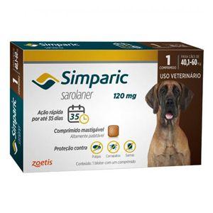 Antipulgas, Carrapatos e Sarnas Simparic 120mg Cães de 40,1 a 60kg - 1 Comprimido