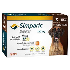 Antipulgas, Carrapatos e Sarnas Simparic 120mg Cães de 40,1 a 60kg - 3 Comprimidos