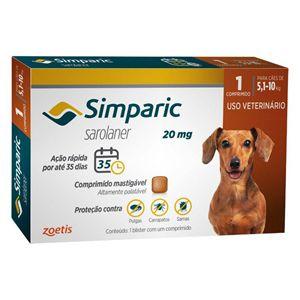 Antipulgas, Carrapatos e Sarnas Simparic 20mg Cães de 5,1 a 10kg - 1 Comprimido
