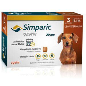Antipulgas, Carrapatos e Sarnas Simparic 20mg Cães de 5,1 a 10kg - 3 Comprimidos