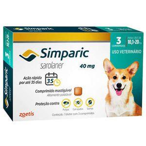 Antipulgas, Carrapatos e Sarnas Simparic 40mg Cães de 10,1 a 20kg - 3 Comprimidos