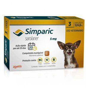 Antipulgas, Carrapatos e Sarnas Simparic 5mg Cães de 1,3 a 2,5kg - 3 comprimidos